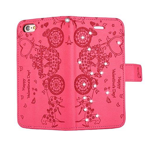 Voguecase® Pour Apple iPhone 6/6s 4,7 Coque, Étui en cuir synthétique chic avec fonction support pratique pour Apple iPhone 6/6s 4,7 (Carriage-diamant-Rose)de Gratuit stylet l'écran aléatoire universe