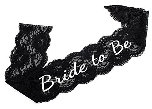 Elegant Black Lace Bride Sash