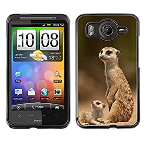 Exotic-Star Snap On Hard Protective Case For HTC Desire HD / Inspire 4G ( The Meerkat Family )
