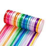 500 Yard Fabric Ribbon Satin Ribbon Rolls Silk Satin Roll, 25 Yard/Rolls, 20 Rolls, Satin Ribbon for Gift Package Wrapping Ribbon Bow Making Crafts Sewing Party Wedding, 2/5 Inch Wide