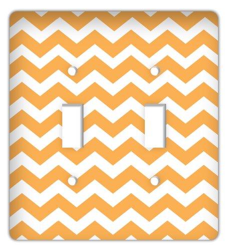 Chevron Print Double Switchplate Cover, Orange ()