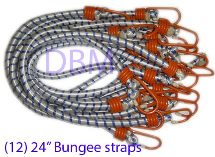 24'' Bungee Cord Straps with Hooks - 12 PCS Strap Ropes Tie Down