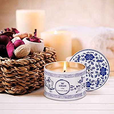 Scented Candles blue-and-white Lilac Aromatherapy Stress Relief, 8.5 Oz Eco-friendly Natural Soy Wax in Travel Tins, Gift for her - Birthday - Holidays - Weddings