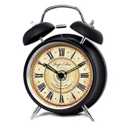 XIDUOBAO 4 Vintage Retro Fashioned Quiet Non-ticking Sweep Second Hand, Quartz Analog Twin Bell Clock, Battery Operated, Loud Alarm(Black Roman numbers ) (4)
