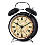 XIDUOBAO 4'' Vintage Retro Fashioned Quiet Non-ticking Sweep Second Hand, Quartz Analog Twin Bell Clock, Battery Operated, Loud Alarm(Black Roman numbers ) (4'')