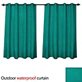 Anshesix Teal Home Patio Outdoor Curtain Knitting Inspired Pattern Sewing and Crafting Hobby Themed Design Monochrome Image Print W120 x L72(305cm x 183cm)