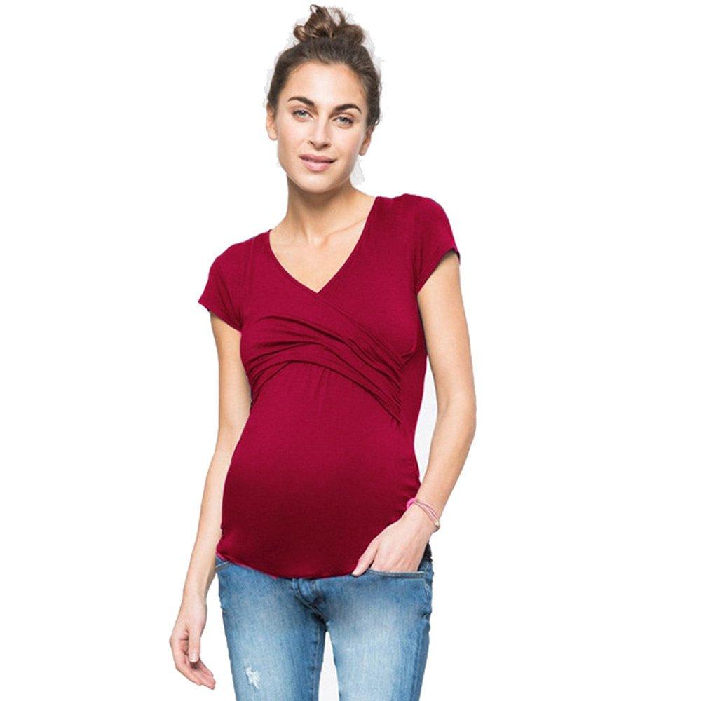 Mutterschaft V-Ausschnitt Kurzarm Stillshirt Stilltop Basic Kleidung Multifunktionale Stillen T-Shirt Schwanger Frauen Stillzeit Umstandsmode T-Shirt Nursing Baby Blouse Tops