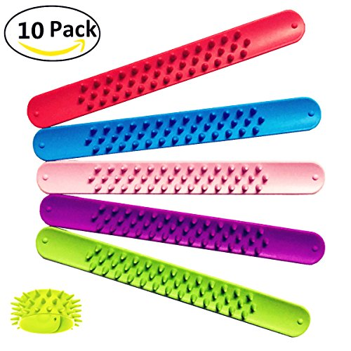 Jofan 10 Pack Spiky Slap Bracelets Sensory Slap Bands Silicone Fidget Toys Spike Snap Bracelet for Kids and Adults Party Favors