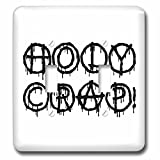 3dRose Alexis Design - Total Protest - Funny decorative total protest text Holy Crap on white - Light Switch Covers - double toggle switch (lsp_285993_2)