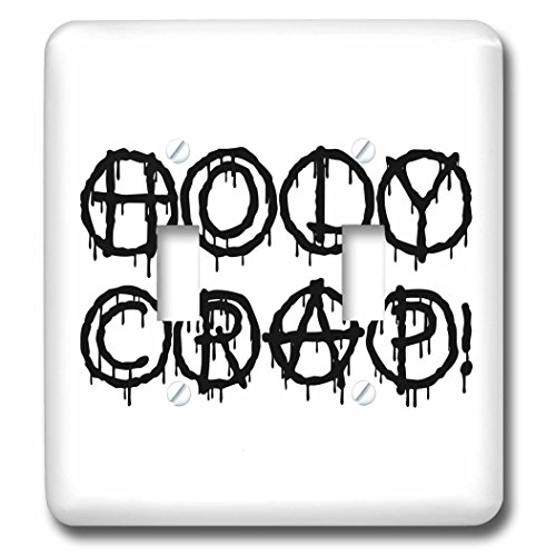 3dRose Alexis Design - Total Protest - Funny decorative total protest text Holy Crap on white - Light Switch Covers - double toggle switch (lsp_285993_2) by 3dRose