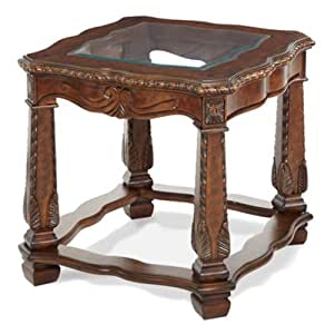 Aico Windsor Court Rectangular End Table - Vintage Fruitwood