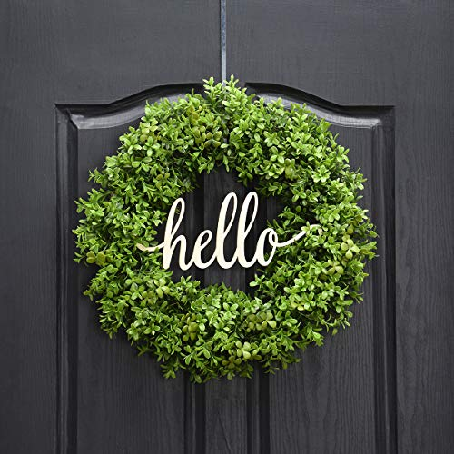 QUNWREATH Handmade 18 inch Handmade Grass Series Wreath,Gifts Package,Green Grass,Hello Letter,Wreath for Front Door,Rustic Wreath,Farmhouse Grapevine Wreath,Light up Wreath,Everyday Wreath,QUNW18 (Front Wreath Door)