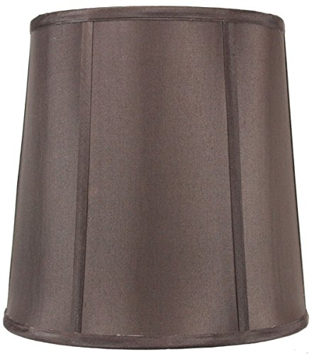 Chocolate Silk Shade Table Lamp - 10x12x12 Chocolate Shantung Fabric Lampshade with Brass Spider Fitter by Home Concept - Perfect for Table and Desk Lamps - Medium, Brown
