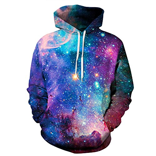 - NEWCOSPLAY Unisex Realistic 3D Digital Print Pullover Hoodie Hooded Sweatshirt (L/XL, blue galaxy)