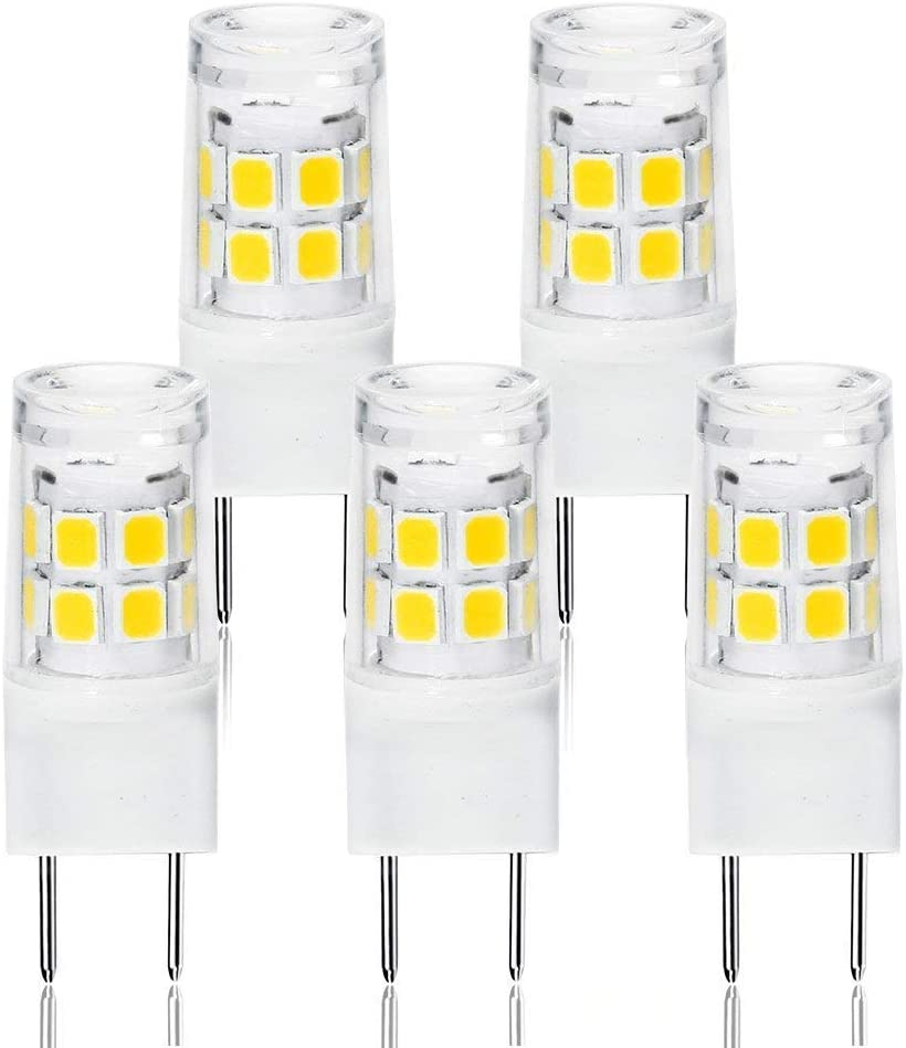 G8 Bi-pin LED Bulb 2 Watts Daylight 6000K 20W Equivalent T4 G8 Base Halogen LED Replacement Bulb for Under-Cabinet Accent Puck Light Desk Lamp Lighting (Pack-5)
