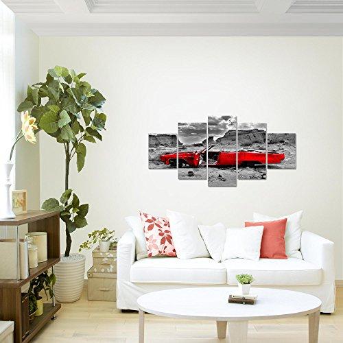 Bilder-Auto-Grand-Canyon-Wandbild-Vlies-Leinwand-Bild-XXL-Format-Wandbilder-Wohnzimmer-Wohnung-Deko-Kunstdrucke-Rot-5-Teilig-100-MADE-IN-GERMANY-Fertig-zum-Aufhngen-602252a