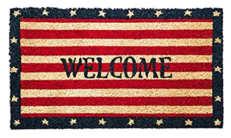 Evergreen Patriotic Welcome Coir Mat, 28 X 16 Inches