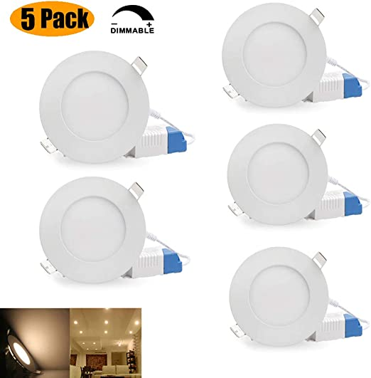 Panel Downlight LED Empotrable Extraplano Redondo Plafon de Techo Focos Empotrables en Techo, Iluminacion Regulable Cambio 6W 480lm, 4000K (Blanco Cálido): Amazon.es: Iluminación