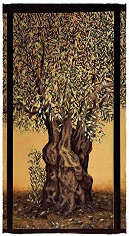 C COABALLA Tree of Life Utility Bath Towel,Triptych of an Old Mature Olive Tree Mediterranean Greece Style Nature Graphic Decor for Home,56