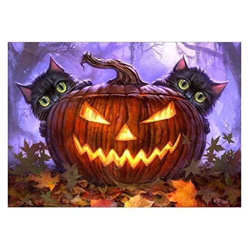 Horoshop Halloween Pumpkin Lantern 5D Diamond Painting Kit Full Round Drill DIY Needlework Cross Stitch Set -