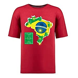 Brasil 2014 FIFA World Cup Theme Short Sleeve T-shirt,Football Background Mens Cotton shirts red