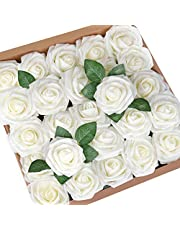 Mocoosy 50Pcs Artificial Roses Flowers, Real Looking Ivory Fake Foam Rose Bulk with Stem for DIY Wedding Bouquets Centerpieces Bridal Shower Home Party Flower Arrangements Decorations