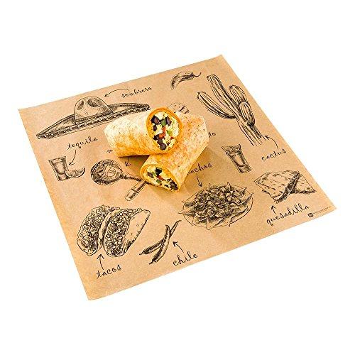 Restaurantware Greaseproof Paper Food Wrap, Chip Basket Liner, 12' x 12'