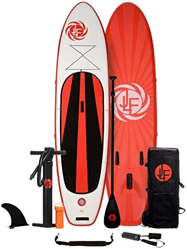 JLF Inflatable Stand Up Paddle Board Set Includes Paddleboard, Hand Pump, Paddle, Backpack, Carry Strap, Leash and Removable Center Fin