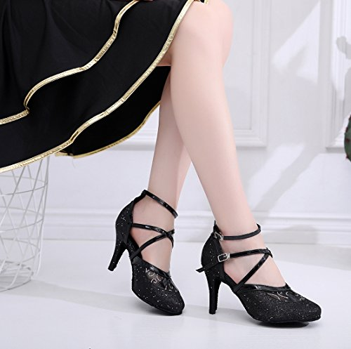 Glitter Pumps Ballroom Evening Latin Strap 5 Dancing Shoes US Toe Women's Round Minishion Black Ankle 4 1fYFFqw