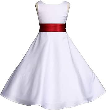 Bridesmaid Flower Girl Dress Pink Promise Wedding Pageant Ivory A-Line Matte Satin Jr