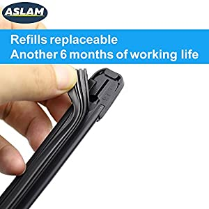 "Wiper Blades,ASLAM Type-G 19""+19""Windshield Wipers:All-Season Blade for Original Equipment Replacement and Refills Replaceable,Double Service Life(set of 2)"