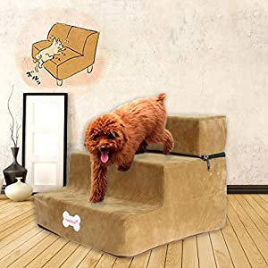 Dolloress High-Density Sponge Pet Ladder Pet Ramp 3 Stairs Foldable Detachable for Dogs Cats Playing Resting Sleeping Click on image for further info.