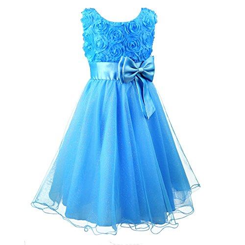 s Flower Formal Wedding Bridesmaid Party Dress Size 8 (5-6 Years), Blue (Girl Wedding Party Formal Dress)