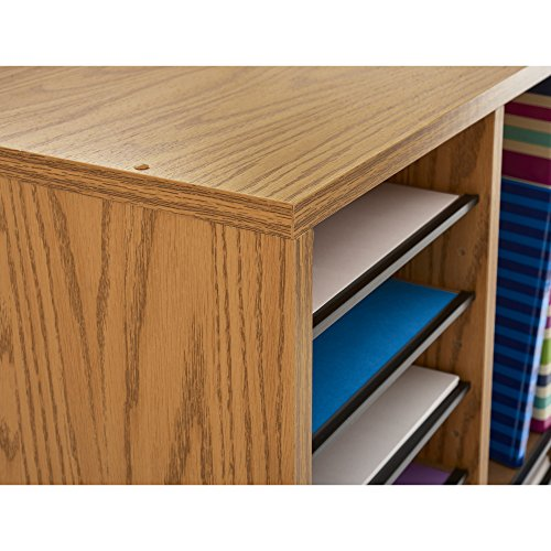 Safco Products 9424MO Wood Adjustable Literature Organizer, 36 Compartment, Oak