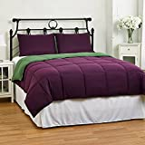 Cozy All Seasons Reversible Down Alternative Comforter Set, King/Cal King, Purple/Green