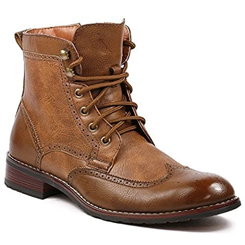 Men's Polar Fox 808567 Wing Tip Perforated Brogue Military Style Dress Boots, Brown, 9.5 - Footwear Combat Boots