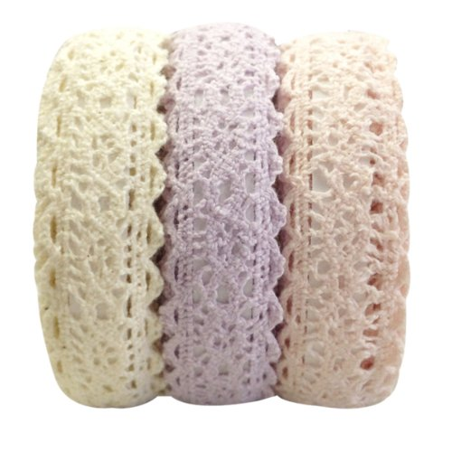 - Wrapables Decorative Lace Tape, 500cm by 15mm,Beige/Light Purple/Light Pink, Set of 3