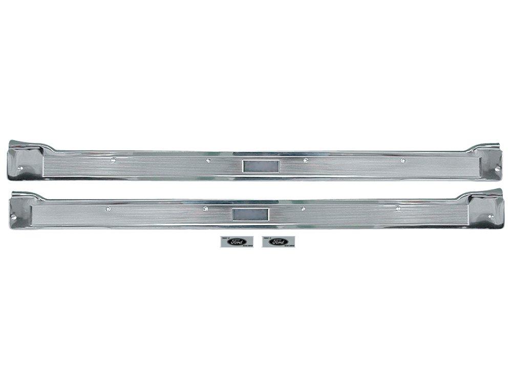 New 1965-66 Ford Galaxie 500, 500XL, LTD 2 Door Sill Scuff Step Plates with Labels (EBC7AZ-6213208-9KT-65)