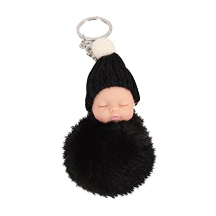 Bluelans Llavero de pompón de peluche con cabeza de bebé ...