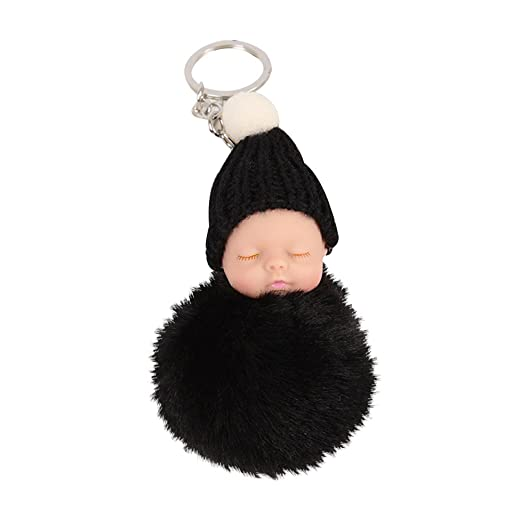 Finance Plan Plush Faux Fur Ball Pompom Keyring Charm Sleeping Baby Handbag Pendant Keychain (Black