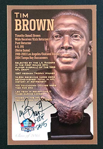 (PRO FOOTBALL HALL OF FAME Tim Brown NFL Bronze Bust Set Card Signed Autograph (Limited Edition #85 of 150))