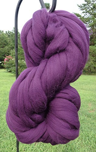 Purple Grape Wool Top Roving Fiber Spinning, Felting Crafts USA (1lb) by Shep's Wool (Image #1)