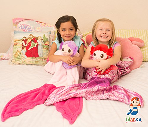 Blankii Kids Mermaid Tail Blanket with Mia Mermaid Doll, Pink