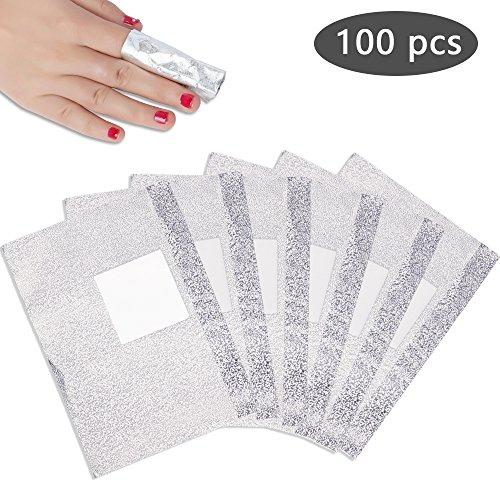 PrettyDiva Nail Polish Remover Soak Off Gel/ Shellac Remover Foils Nail Wraps with Cotton Pad(100 Pcs)
