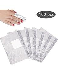 Pretty Diva Nail Polish Remover Soak Off Gel/ Shellac Remover Foils Nail Wraps with Cotton Pad(100 Pcs)
