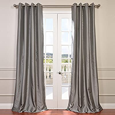 """Half Price Drapes PTCH-BO112-108-GR Grommet Blackout Faux Silk Taffeta Curtain, Platinum - Sold Per Panel 56% Nylon & 44% Polyester   Lined using Plush Blackout Lining Finished With 8 Nickel Finish Grommets (1-1/2"""" Opening) - living-room-soft-furnishings, living-room, draperies-curtains-shades - 514RT3kL4CL. SS400  -"""