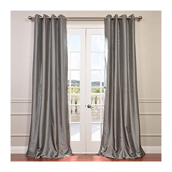 "HPD Half Price Drapes PTCH-BO112-108-GR Grommet Blackout Faux Silk Taffeta Curtain (1 Panel), 50 X 108, Platinum - Sold Per Panel 56% Nylon & 44% Polyester | Lined using Plush Blackout Lining Finished With 8 Nickel Finish Grommets (1-1/2"" Opening) - living-room-soft-furnishings, living-room, draperies-curtains-shades - 514RT3kL4CL. SS570  -"
