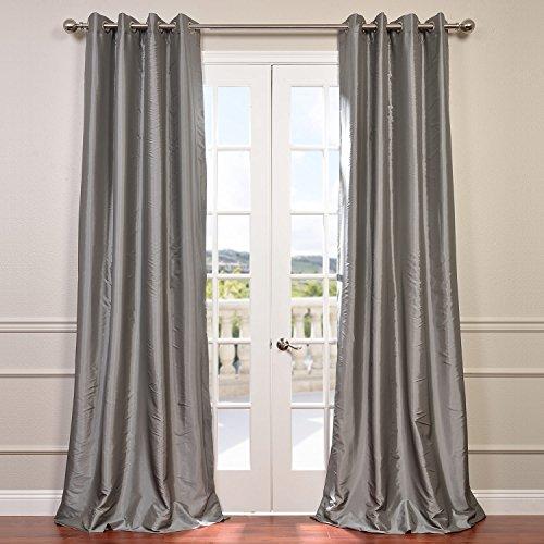 Half Price Drapes PTCH-BO112-84-GR Grommet Blackout Faux Silk Taffeta Curtain, Platinum