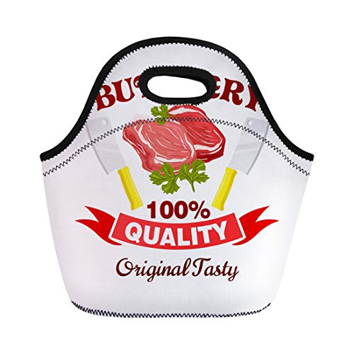 - Semtomn Lunch Bags Butcher Badge Fresh Pork Mutton Beef Meat Raw Tenderloin Neoprene Lunch Bag Lunchbox Tote Bag Portable Picnic Bag Cooler Bag