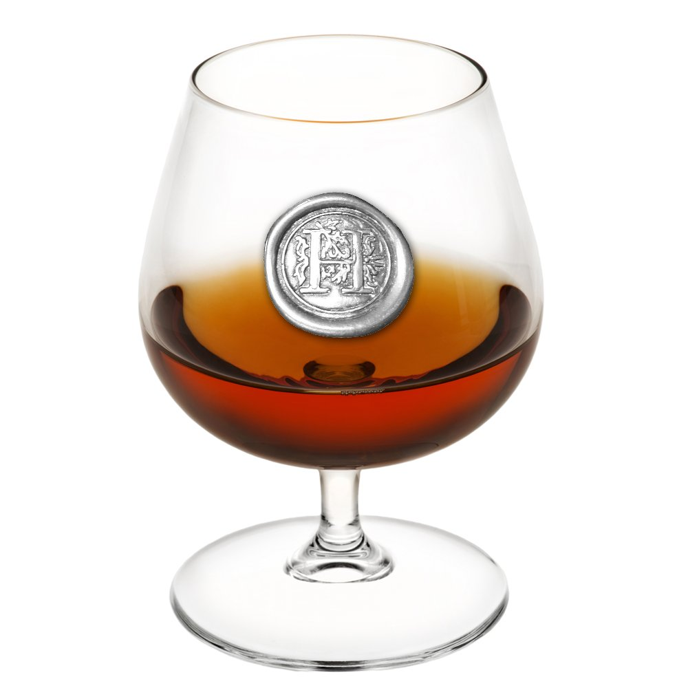 English Pewter Company 14.5oz Brandy Cognac Snifter Glass With Monogram Initial - Unique Gifts For Men - Personalized Gift With Your Choice of Initial (H) [MON208]